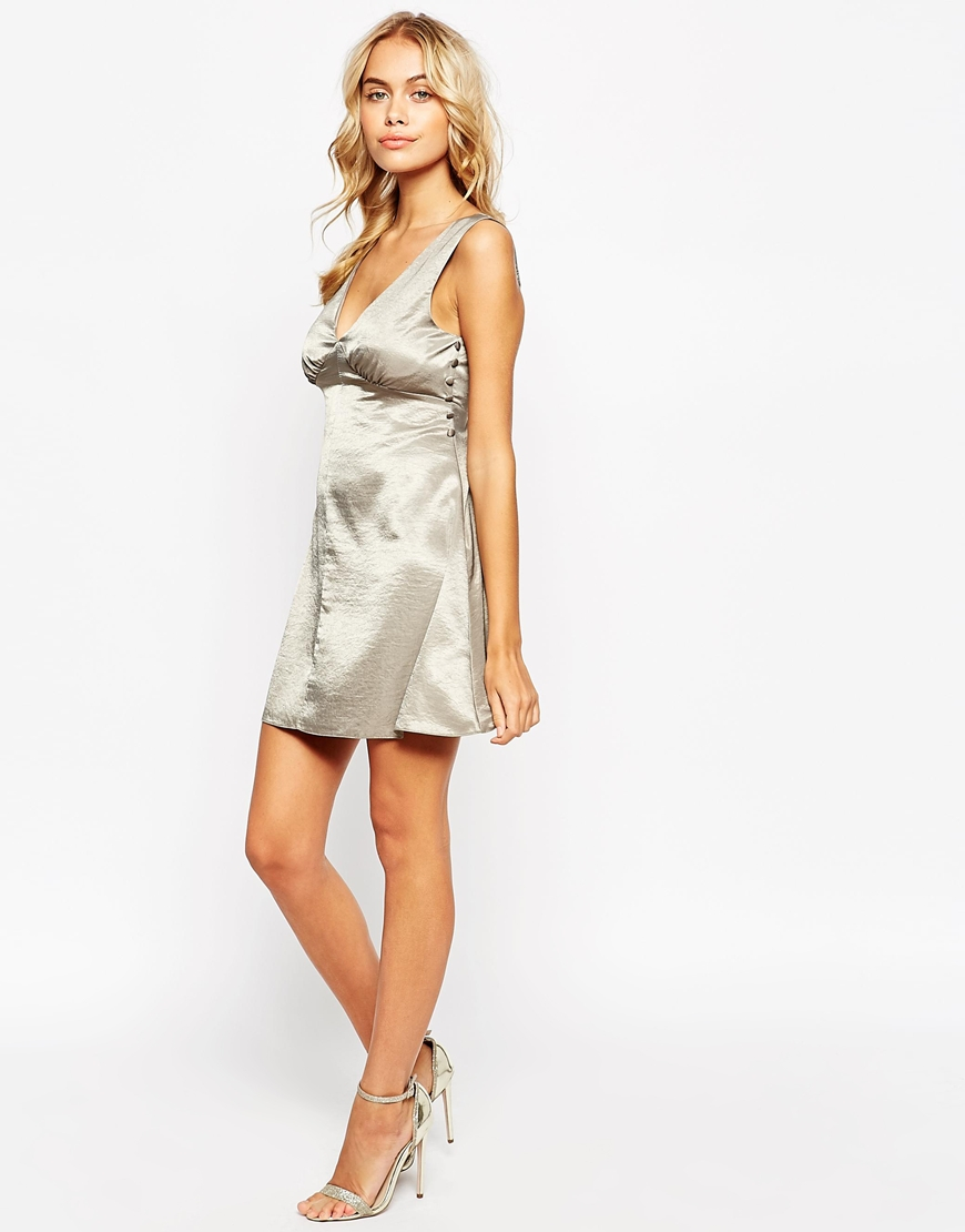 db5ecec1e0 Lyst - ASOS Petite Satin Skater Dress With Button Detail in Gray