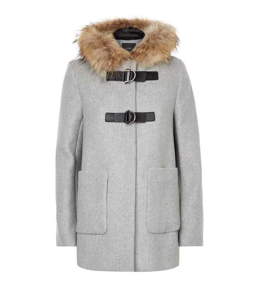 Maje Fur Trimmed Duffle Coat in Gray | Lyst