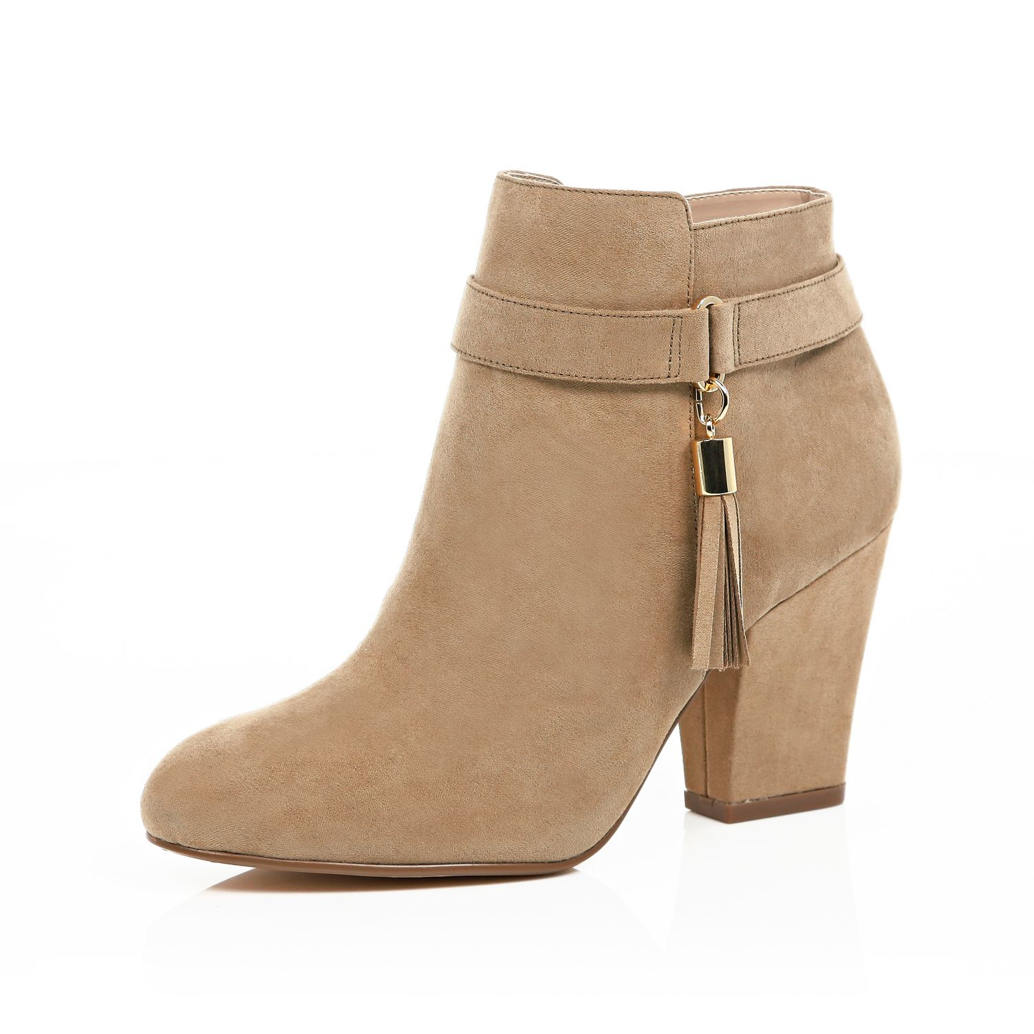 river island light brown tassel trim ankle boots in brown