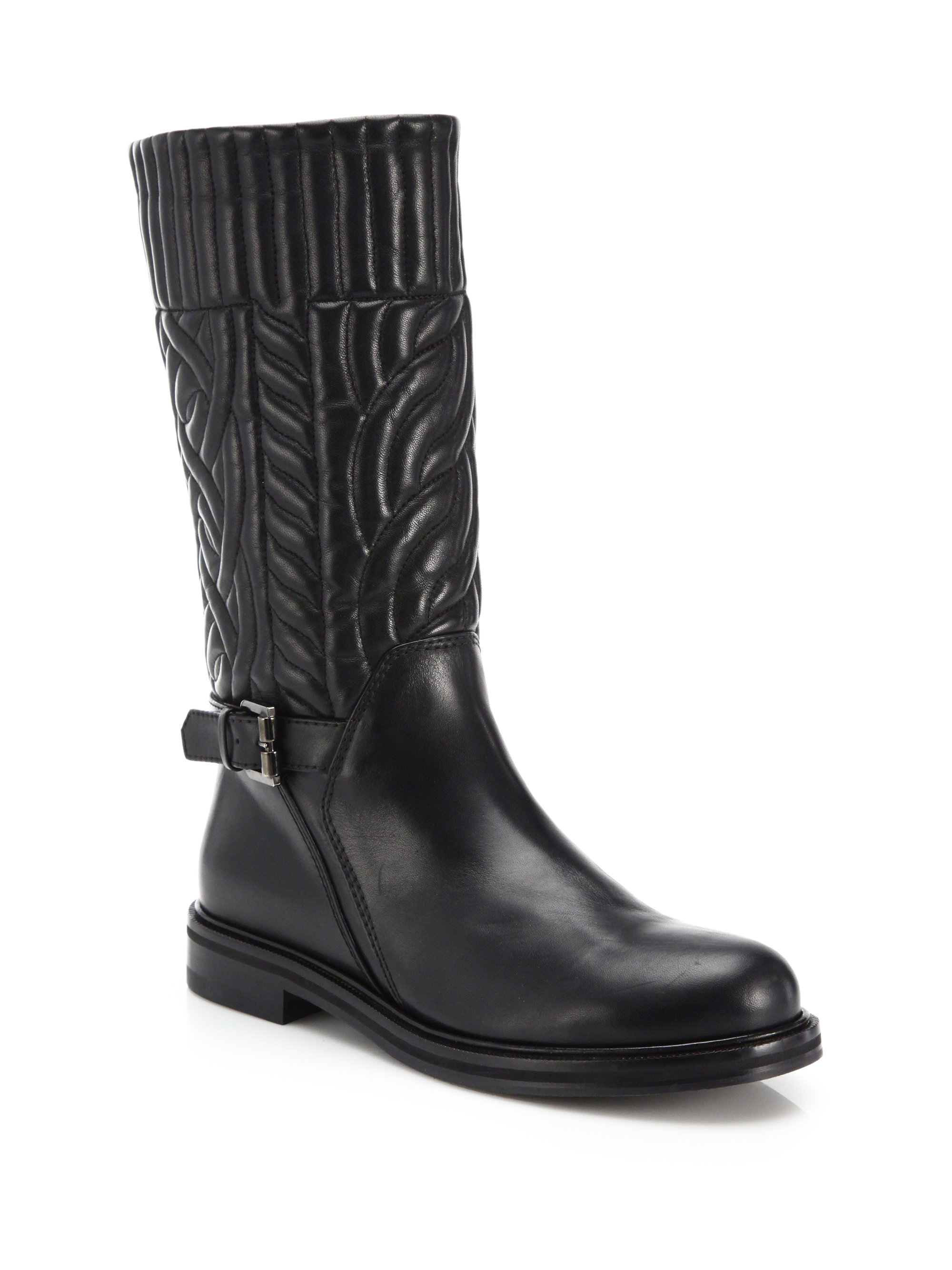 aquatalia bonnie quilted leather moto boots in black lyst