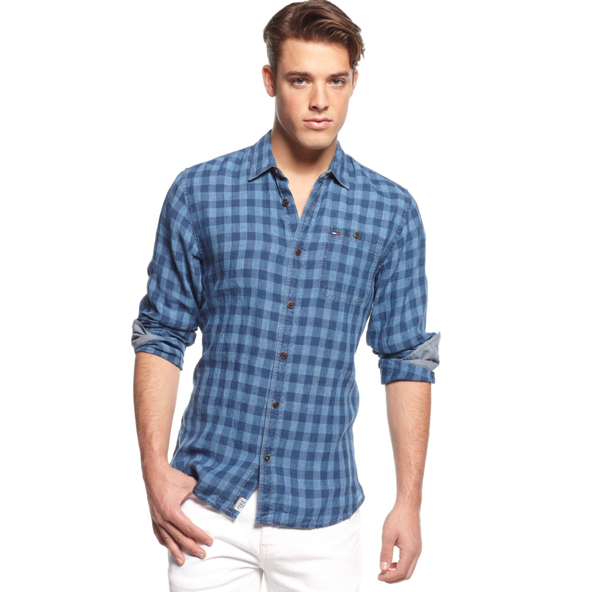 64629308f307 Lyst - Tommy Hilfiger Checkered Linen Shirt Hilfiger Denim ...