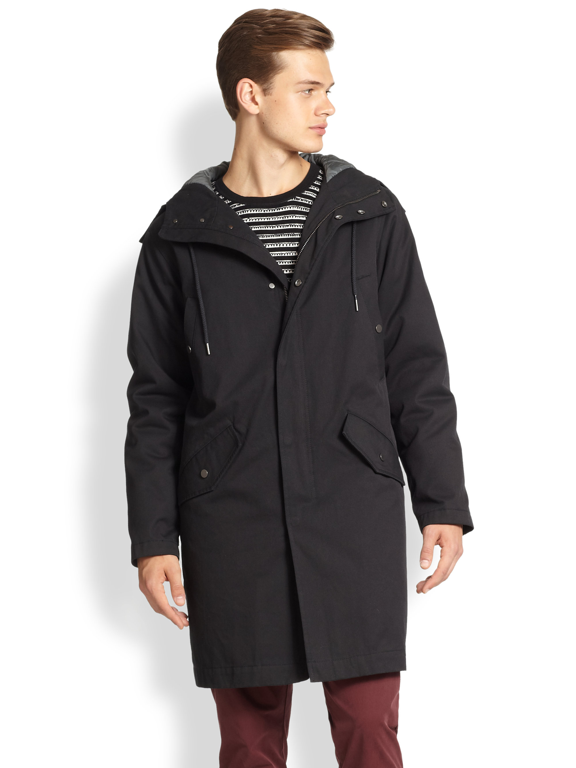 Marc by marc jacobs Hooded Parka in Black for Men | Lyst