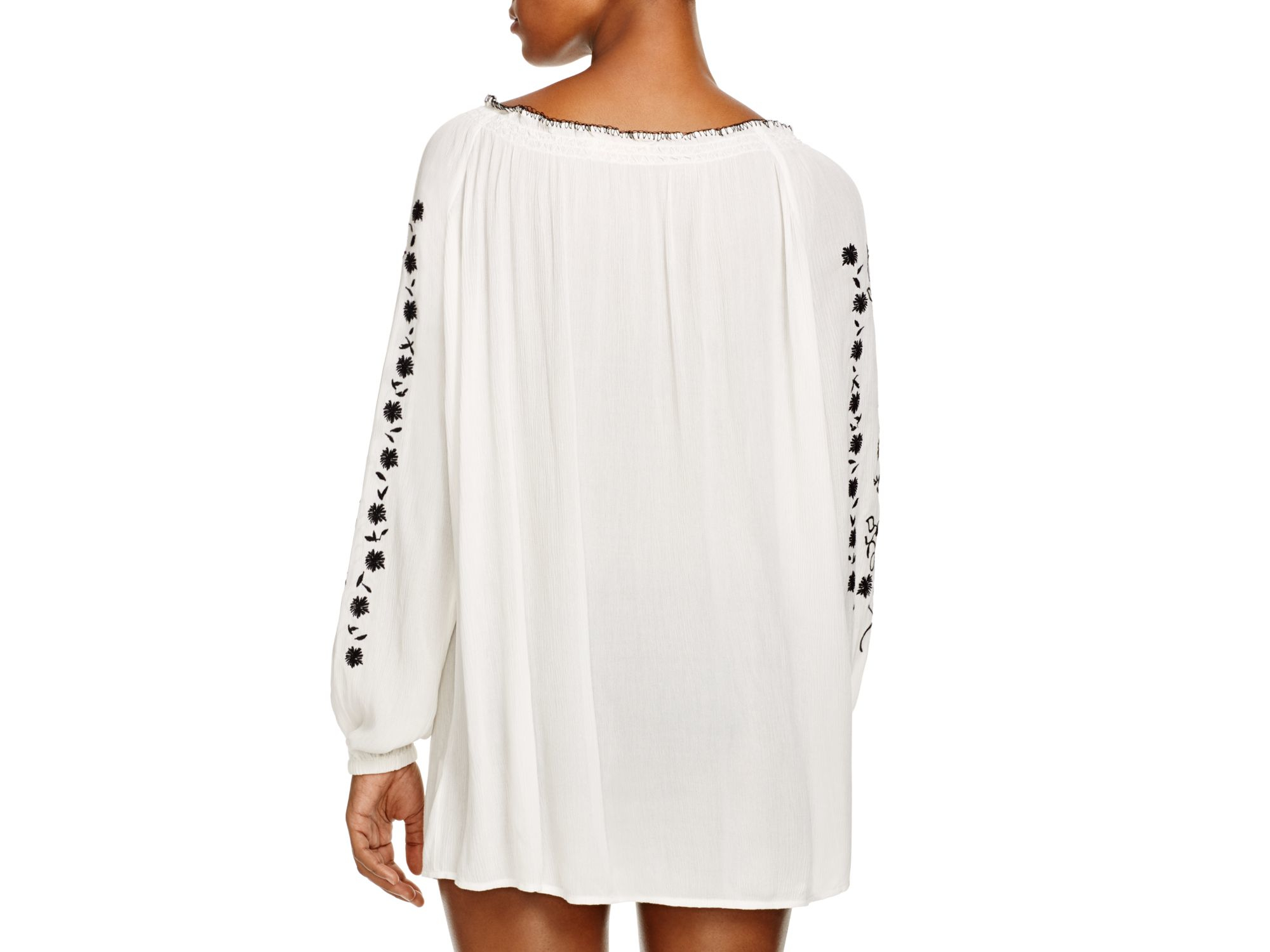 6fd9f8b62 Tory Burch Embroidered Gauze Top Swim Cover Up in Natural - Lyst