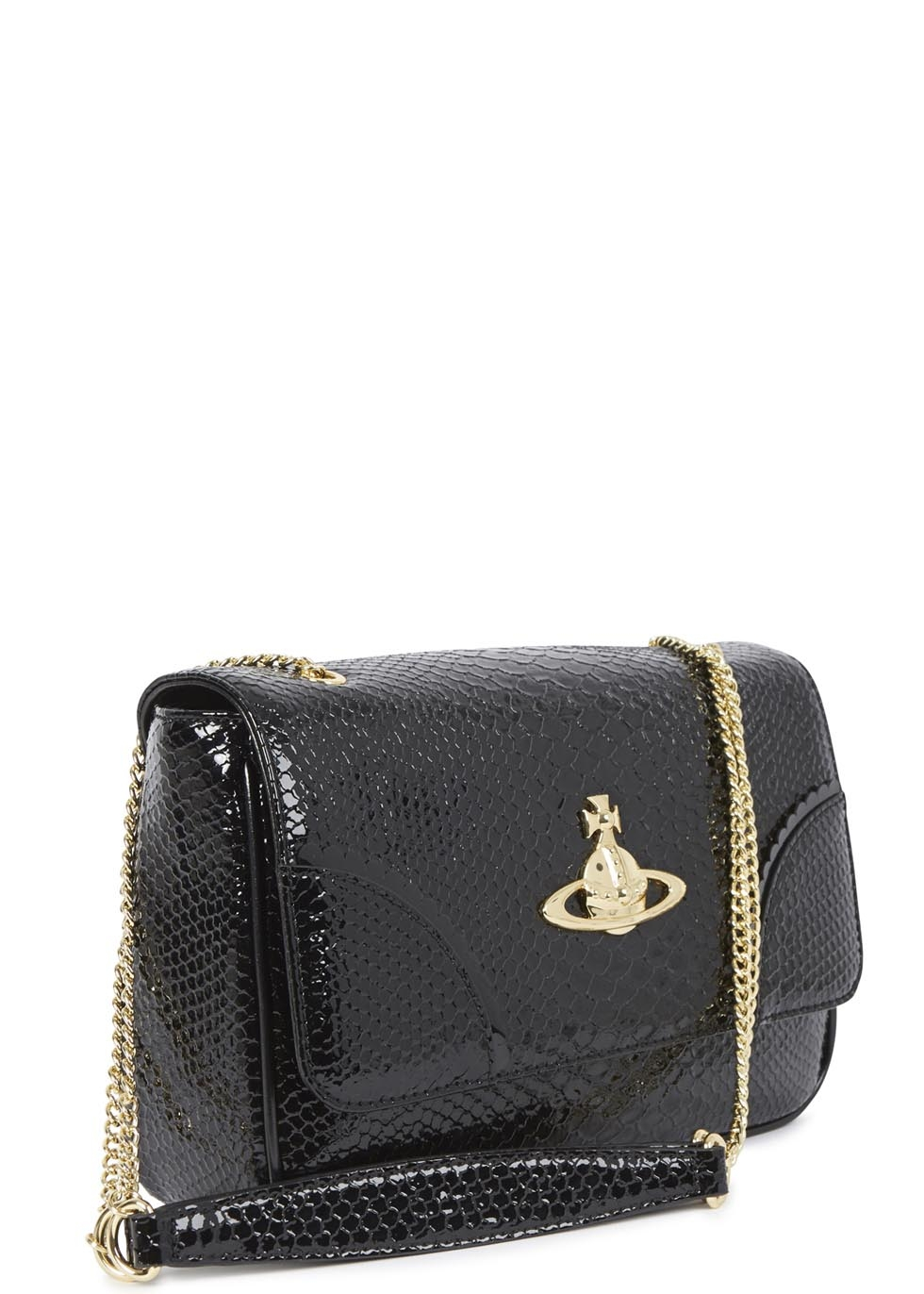 ae65593eac2 Vivienne Westwood Anglomania Frilly Snake Black Patent Leather Shoulder Bag  in Black - Lyst