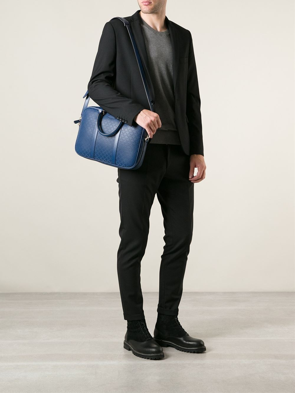 Lyst - Gucci Diamond Laptop Bag in Blue for Men