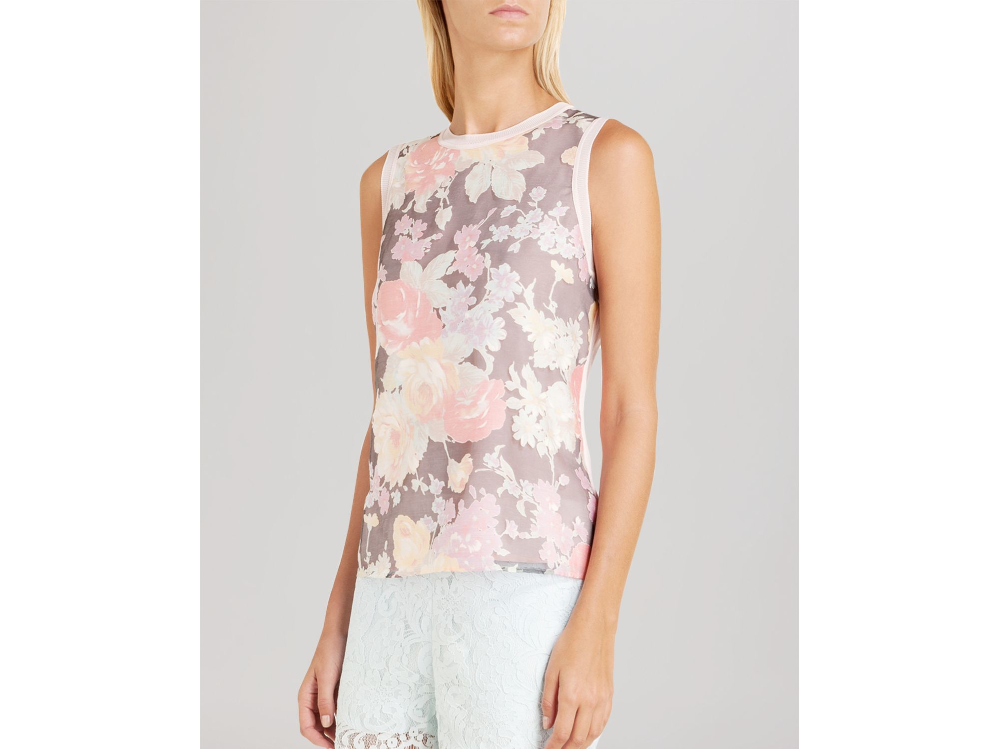 934584298d573a Lyst - Ted Baker Filaki Floral Sleeveless Top in Pink