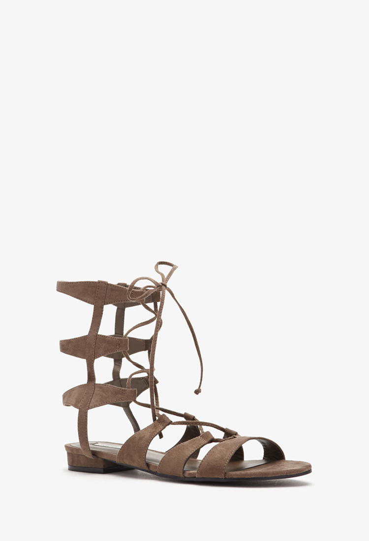 b12666f00025 Lyst - Forever 21 Faux Suede Gladiator Sandals in Gray