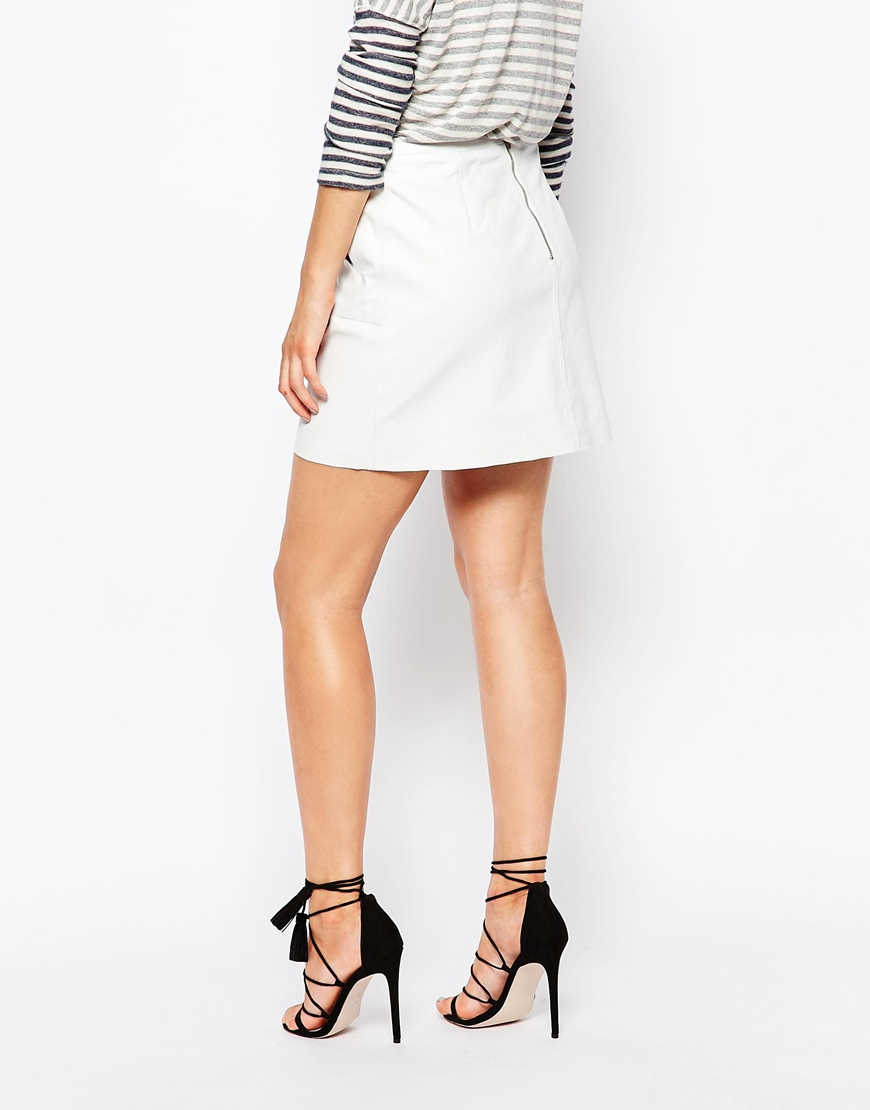 French connection Jetson Leather Skirt in White | Lyst