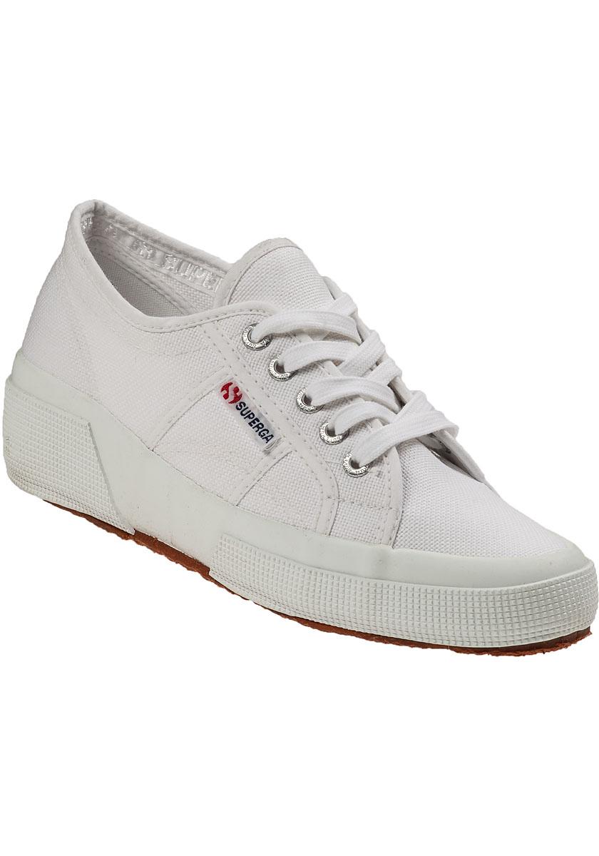 superga 2905 wedge sneaker white fabric in white lyst