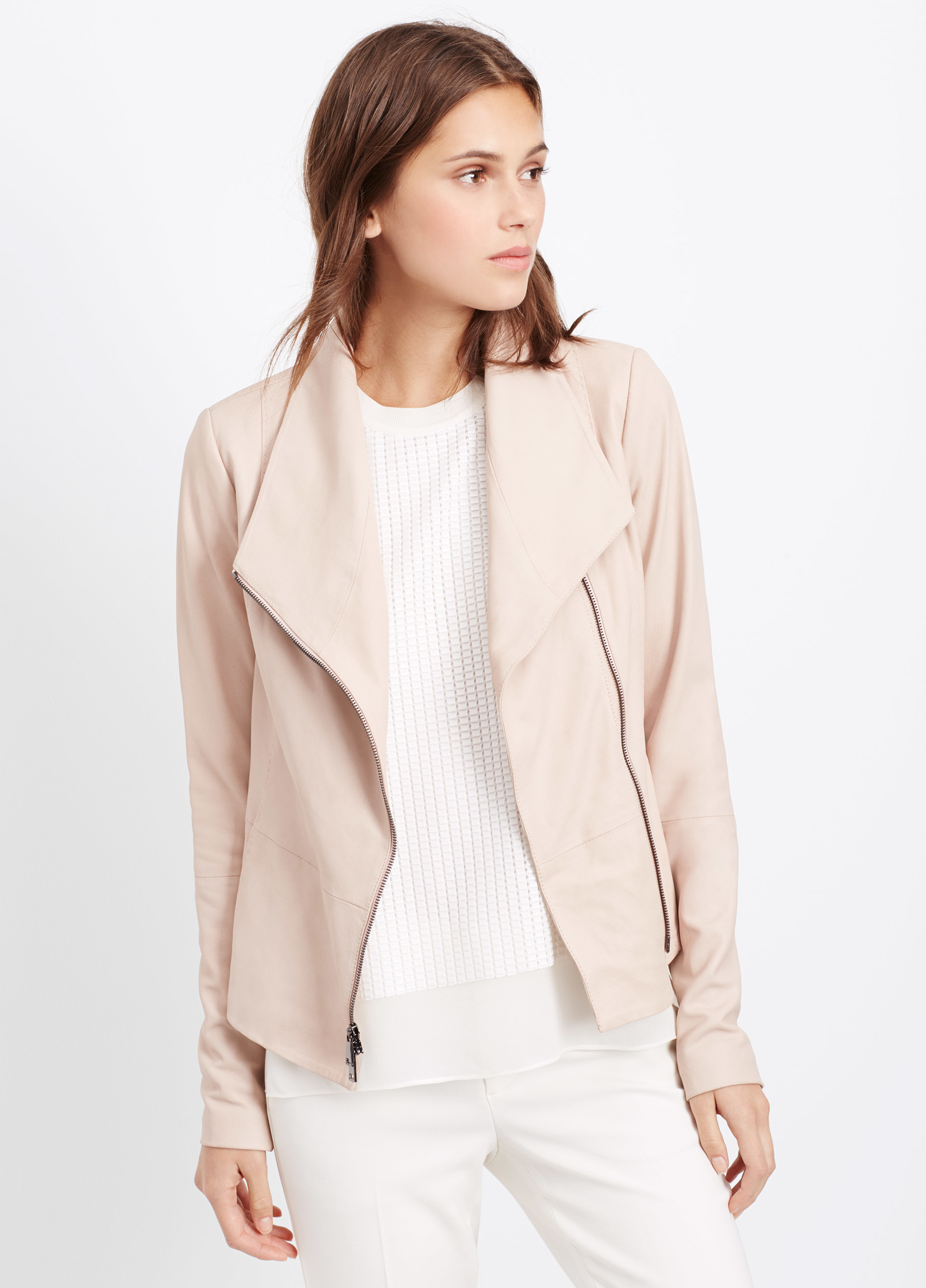 Blush Pink Leather Jacket - JacketIn