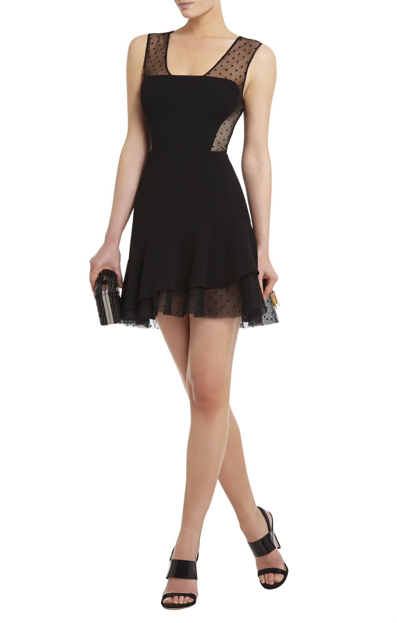 Bcbgmaxazria Adrianna Asymmetrical Ruffle-Skirt Dress in Black | Lyst