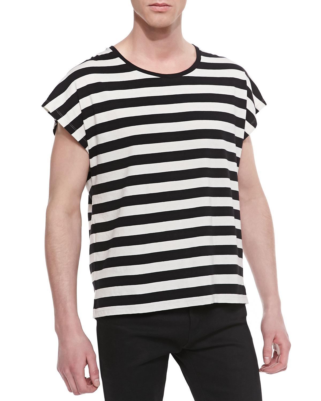 Lyst saint laurent horizontal stripe short sleeve tshirt for Horizontal striped dress shirts men