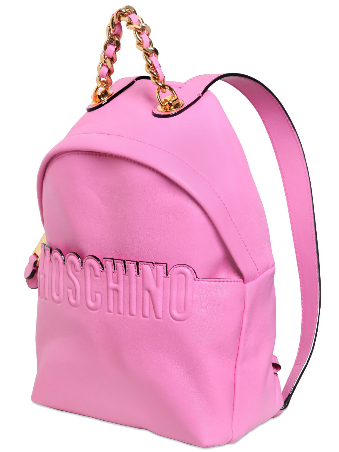 Moschino Leather Backpack With Logo Detail in Pink | Lyst
