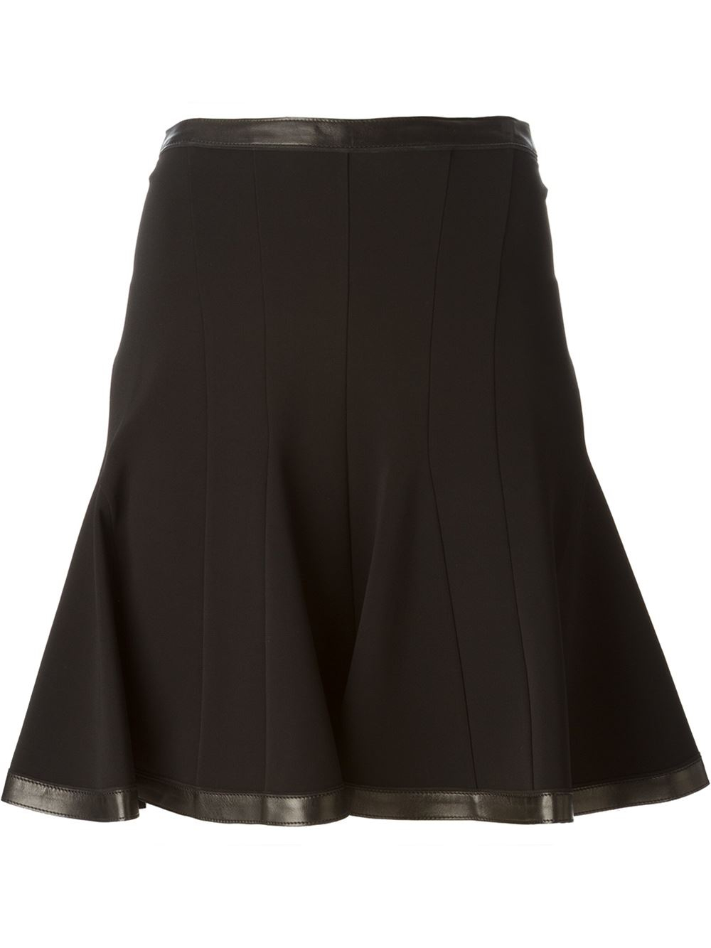 roberto cavalli leather trimmed flared skirt in black lyst
