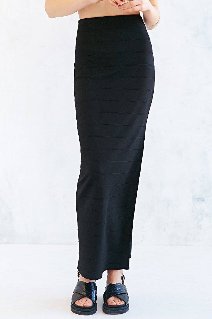 Silence   noise High-Waist Fitted Maxi Skirt in Black | Lyst