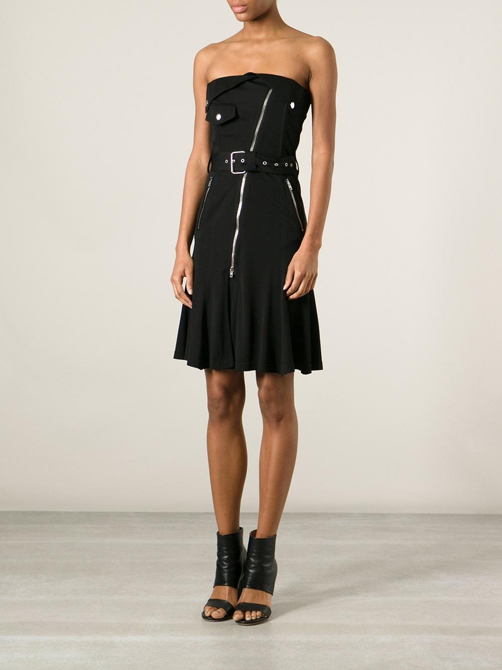 Lyst Jean Paul Gaultier Strapless Biker Dress In Black