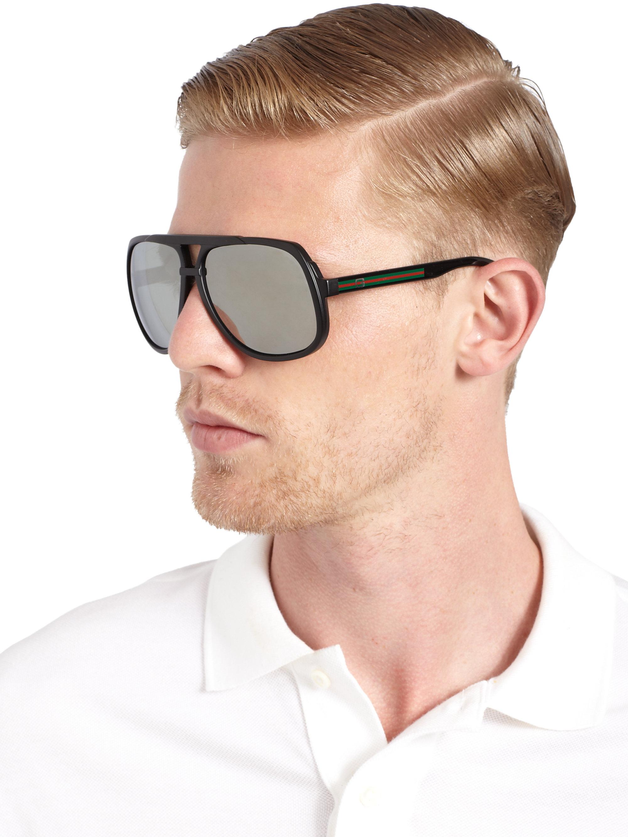 edf8ad4929 Lyst - Gucci Acetate Navigator Sunglasses in Black for Men