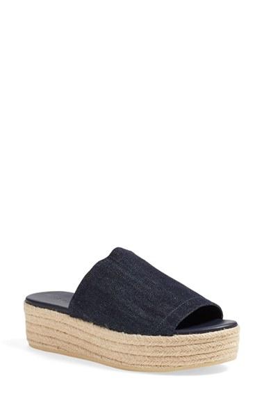 Vince Solana Espadrille Platform Slide Sandal In Blue Lyst