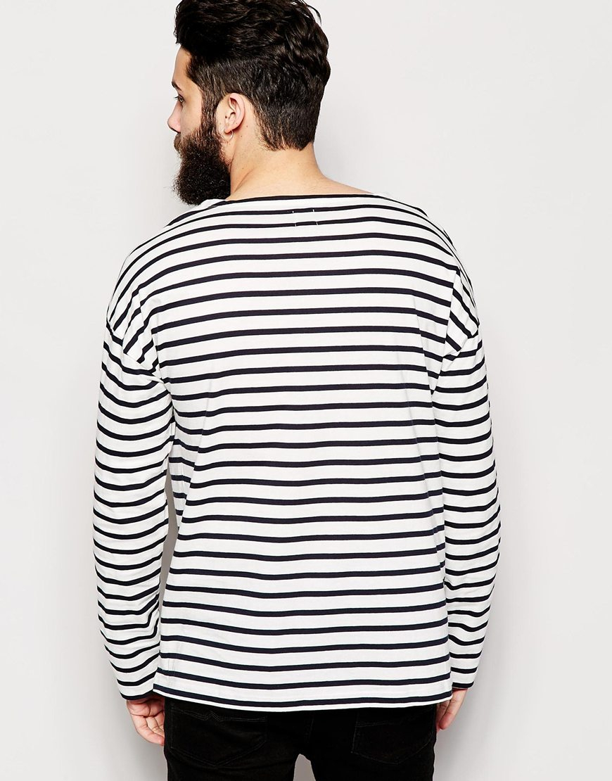 Asos Oversized Striped Long Sleeve T Shirt With Boat Neck