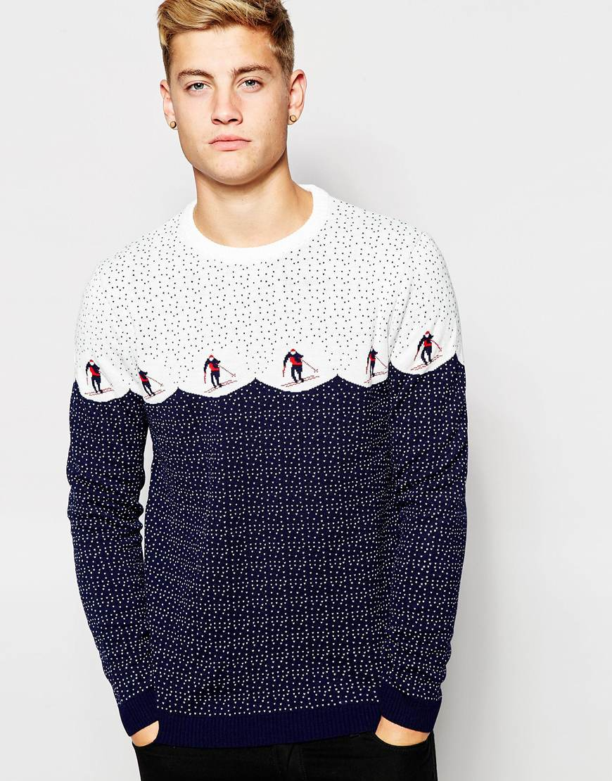 Asos christmas jumper with skiers in blue for men lyst