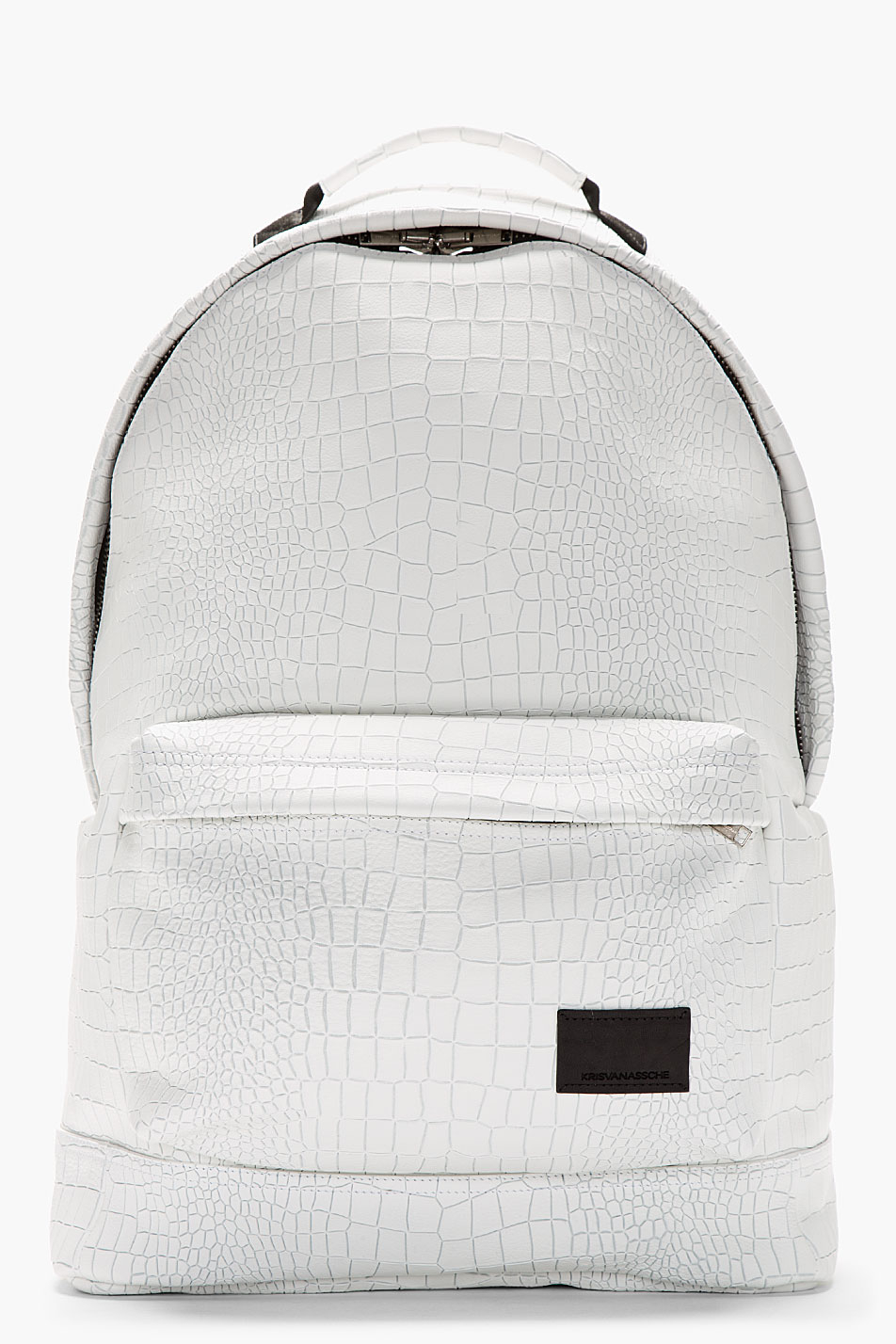 4e712c50ce12 Lyst - Kris Van Assche White Etched Croc Pattern Backpack in White ...