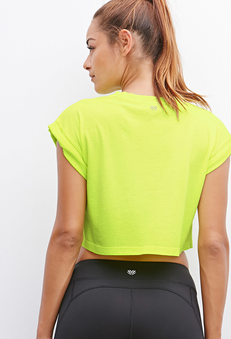 Lyst Forever 21 Active Gym Graphic Crop Top In Yellow