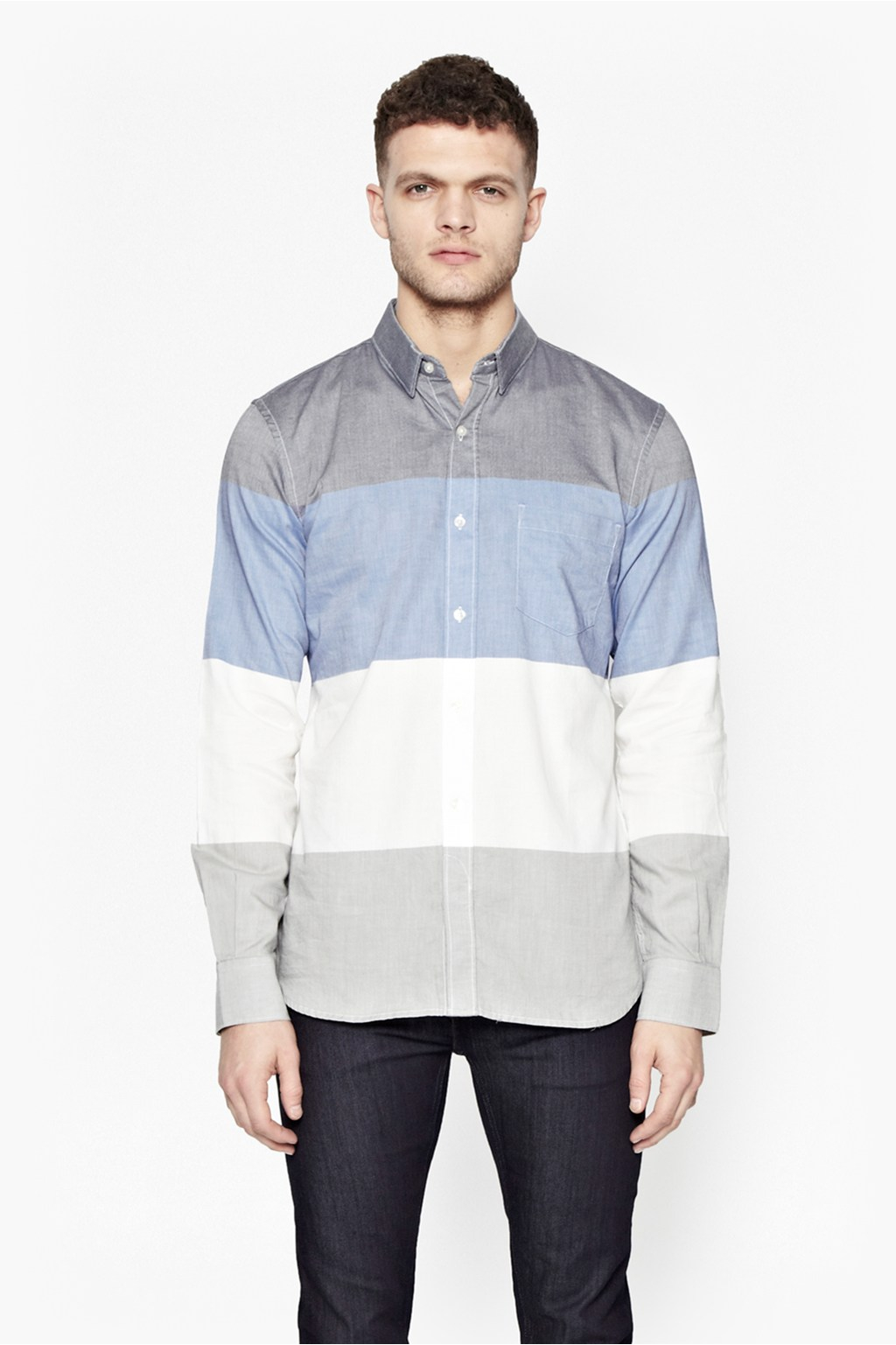 French connection girodet oxford stripe shirt in blue for for French blue oxford shirt