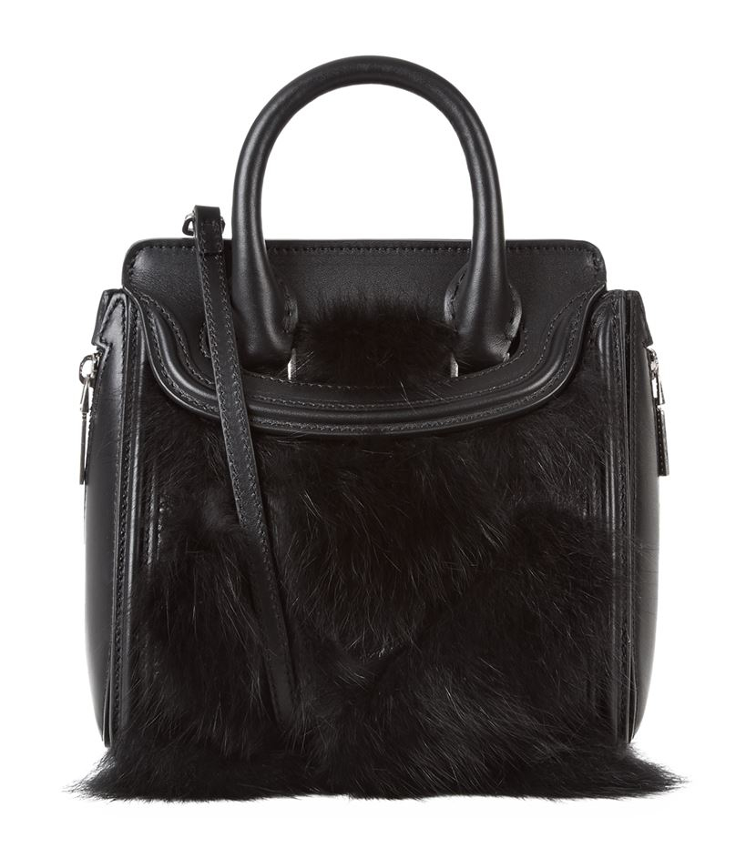 Alexander mcqueen Mini Fur Trim Heroine Bag in Black | Lyst
