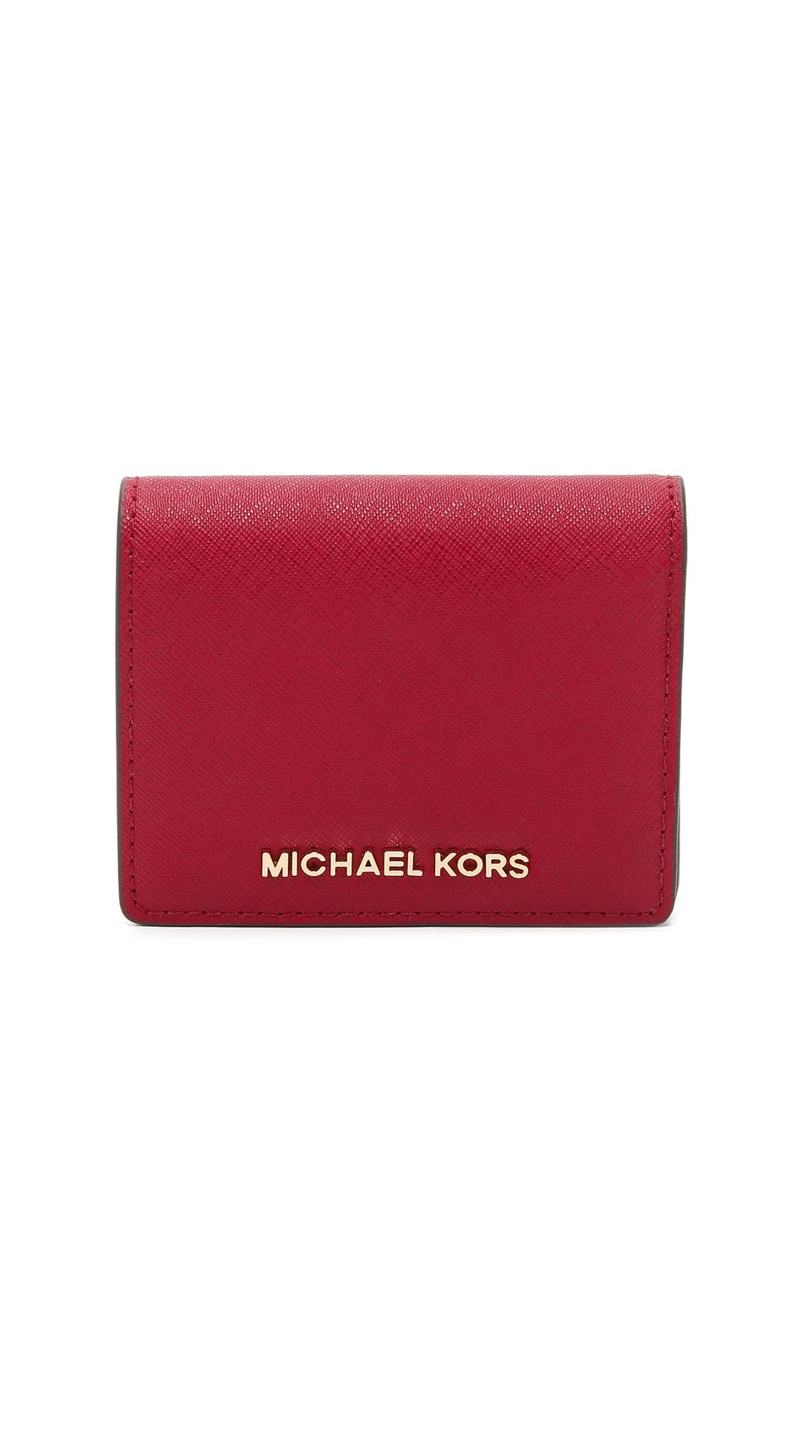 cccebca6196a ... new zealand lyst michael michael kors jet set bifold wallet cherry in  red fb4e6 ef2c5 ...