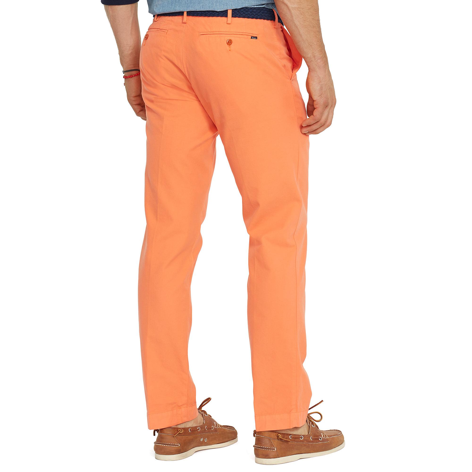 ralph lauren slim fit pima cotton chino in orange for men. Black Bedroom Furniture Sets. Home Design Ideas