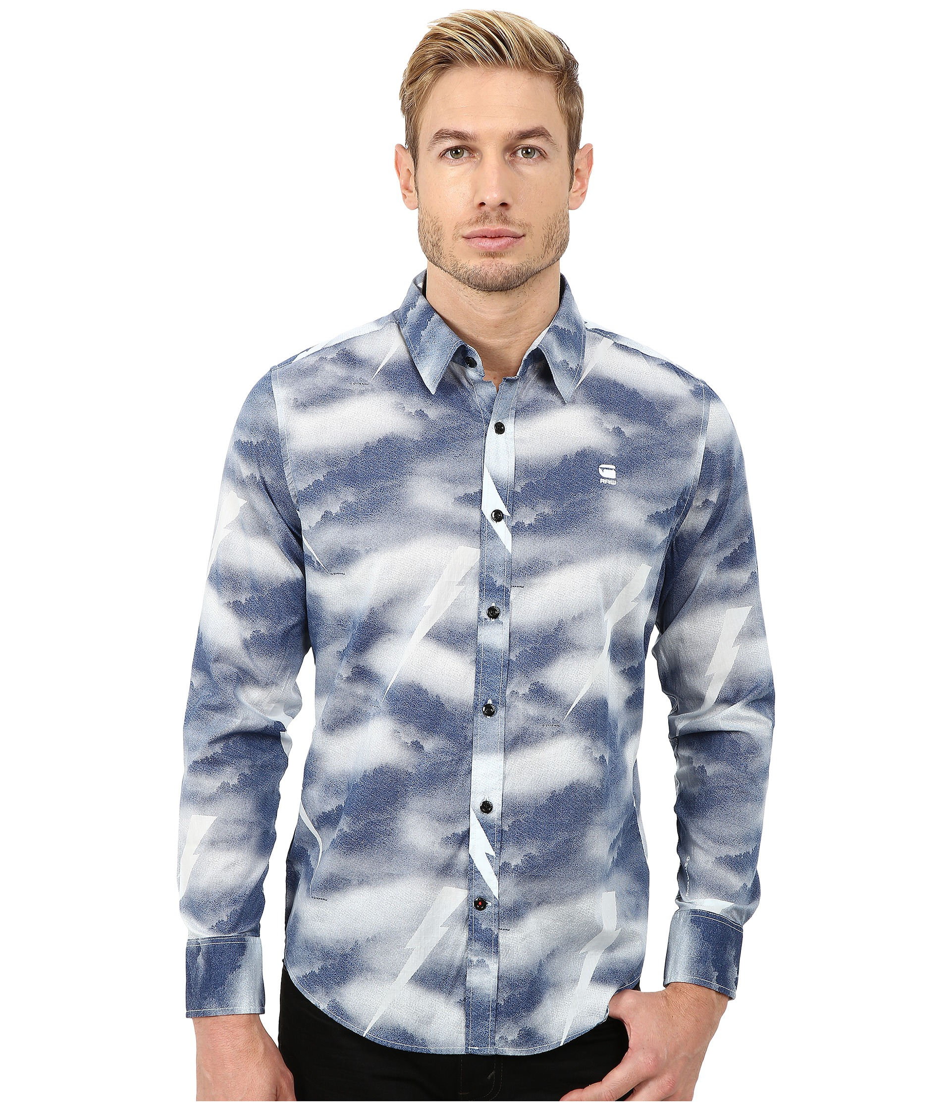 lyst g star raw shattor all over print long sleeve shirt in blue for men. Black Bedroom Furniture Sets. Home Design Ideas