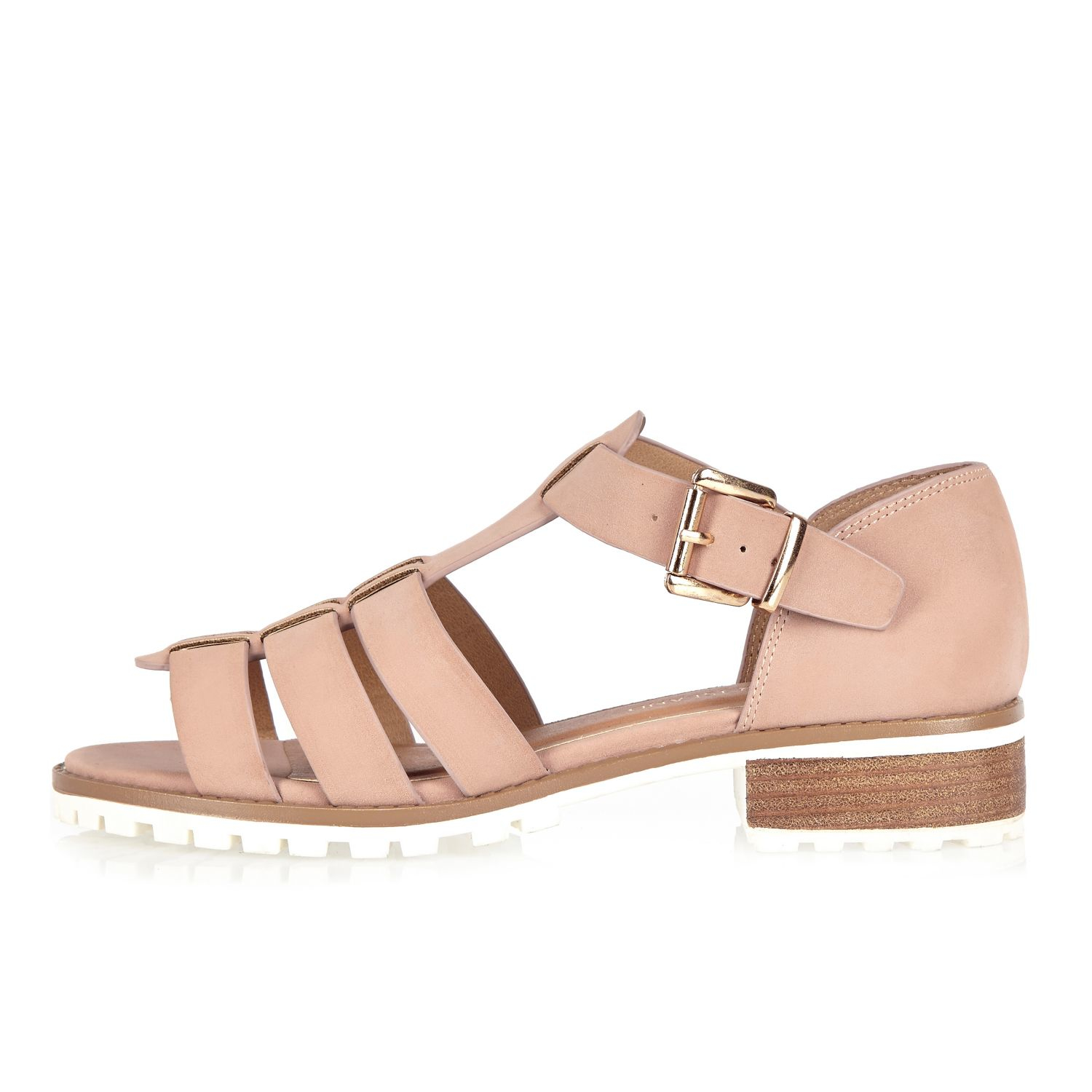 3b34d93e5a5f3b Lyst - River Island Pink Strappy Open Toe Geek Sandals in Pink