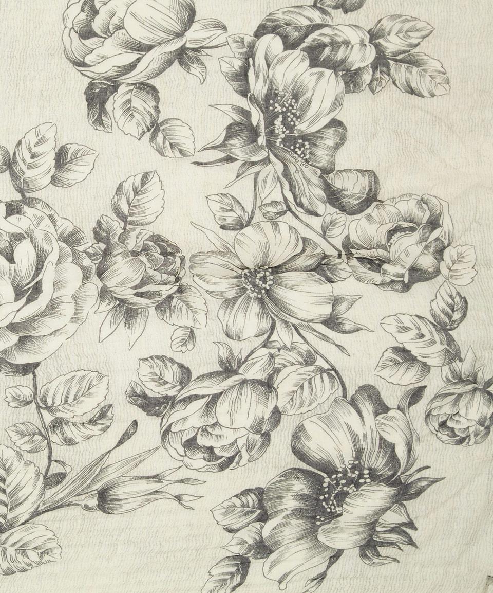 Faliero sarti Black and White Floral Tattoo Print Scarf in Black ...