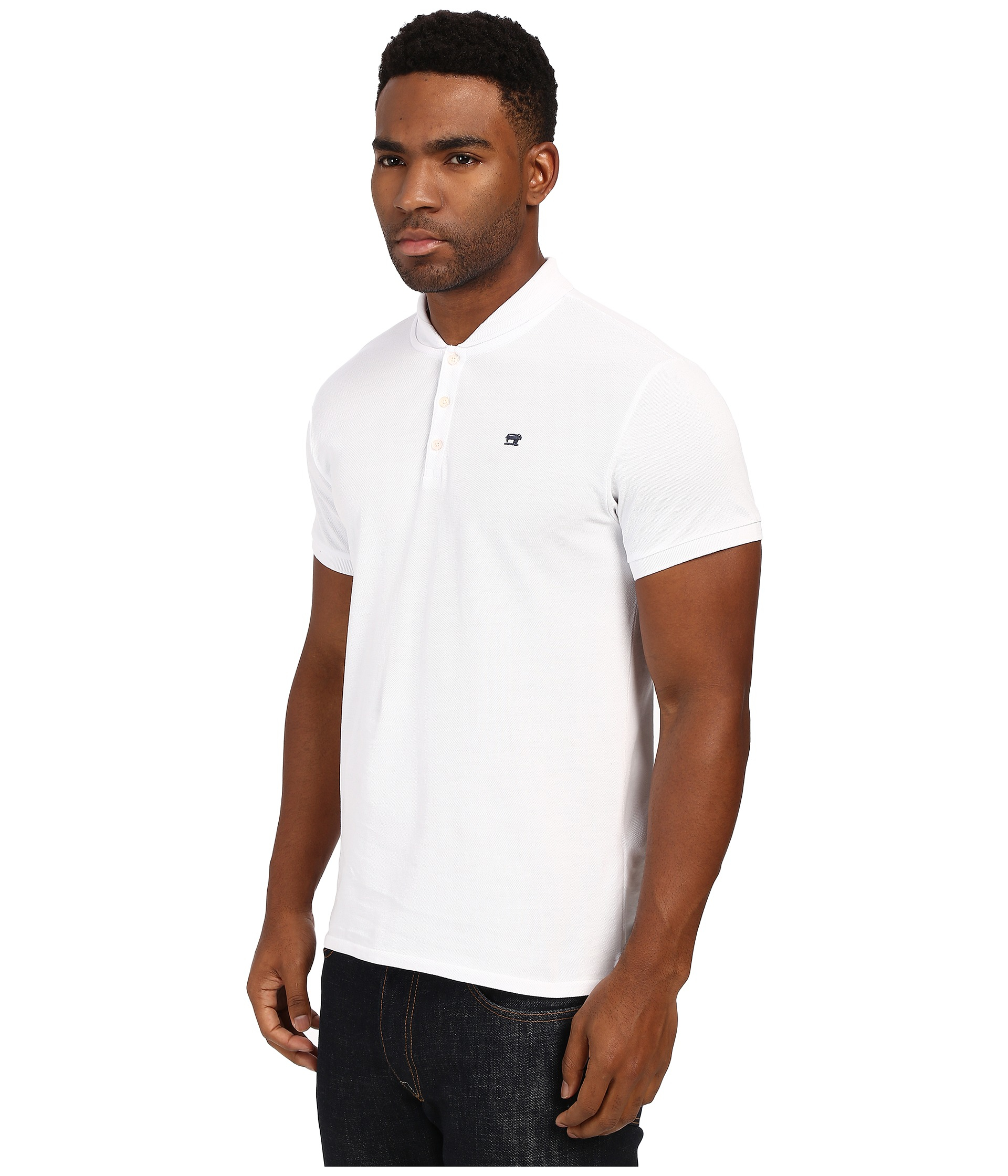 eaa16c77 Scotch & Soda Garment Dyed Sun Fade Polo With Bomber Collar in White for  Men - Lyst