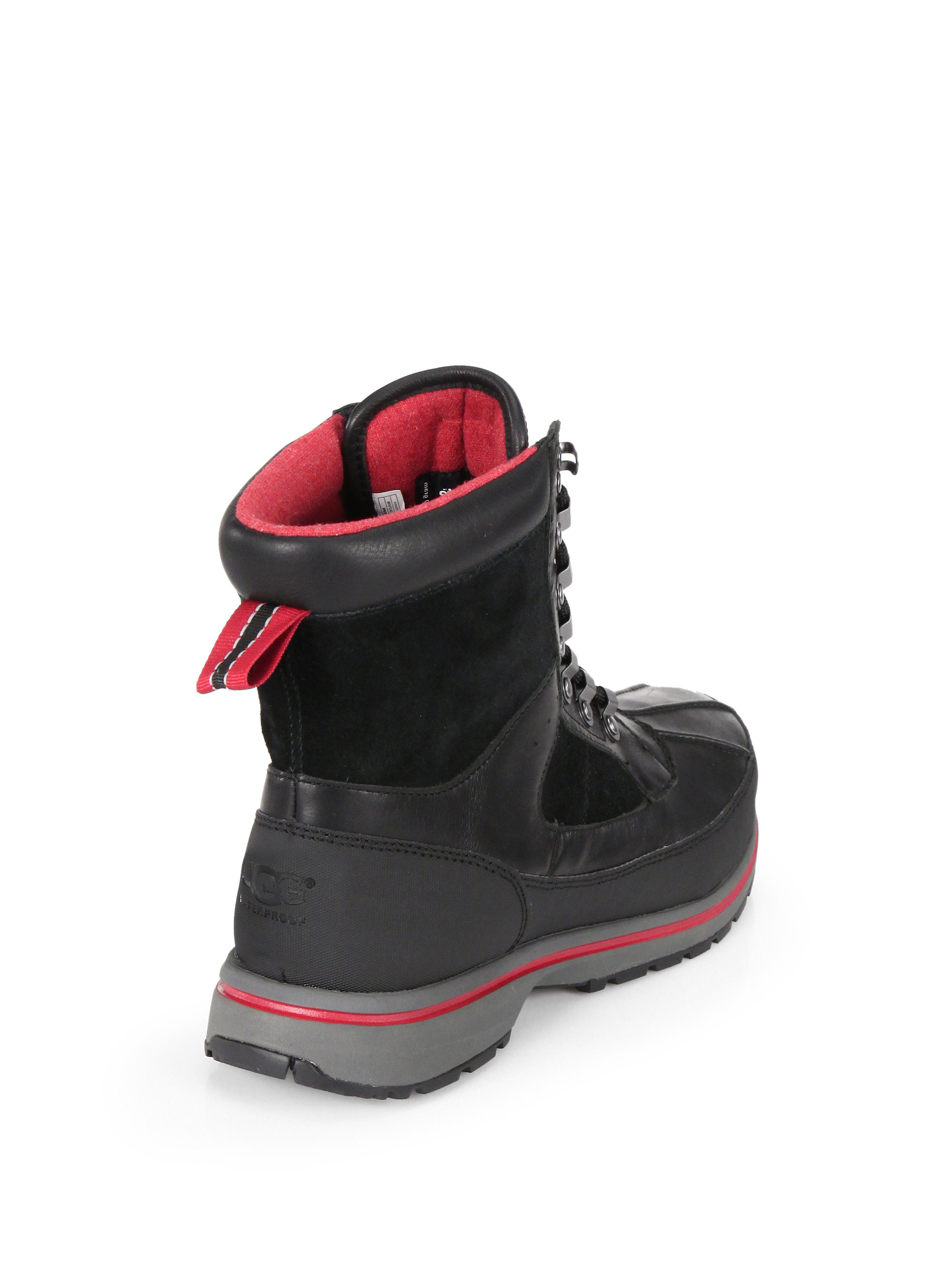 ugg hilner lace up waterproof boots in black for lyst