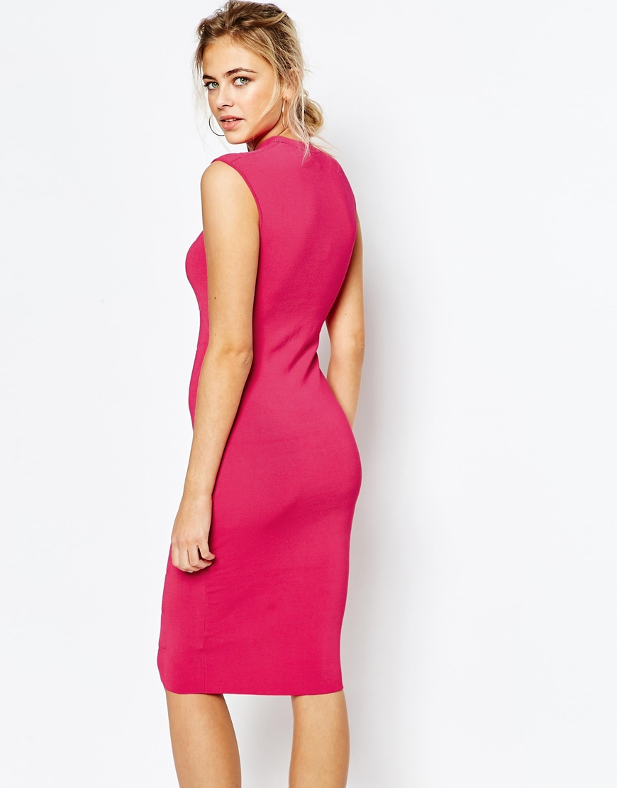 Ted baker Bodycon Jaquard Knitted Dress in Pink | Lyst