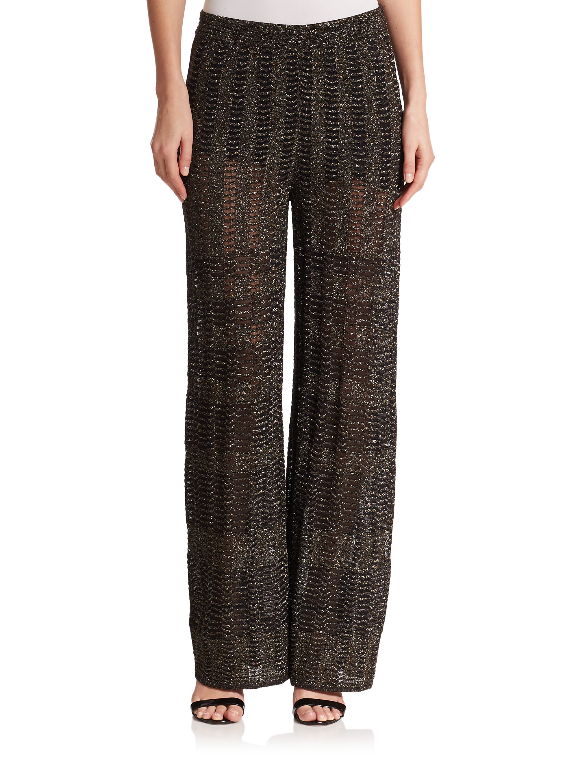 Lyst - M Missoni Metallic Knit Textured Pants in Black