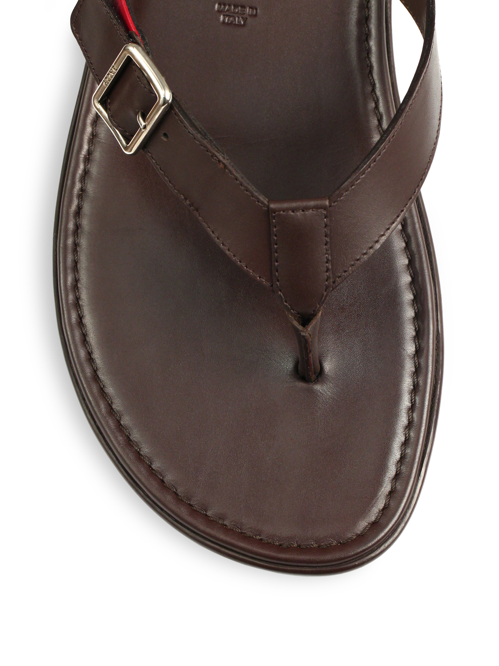 bally trainspotting leather sandals in brown lyst