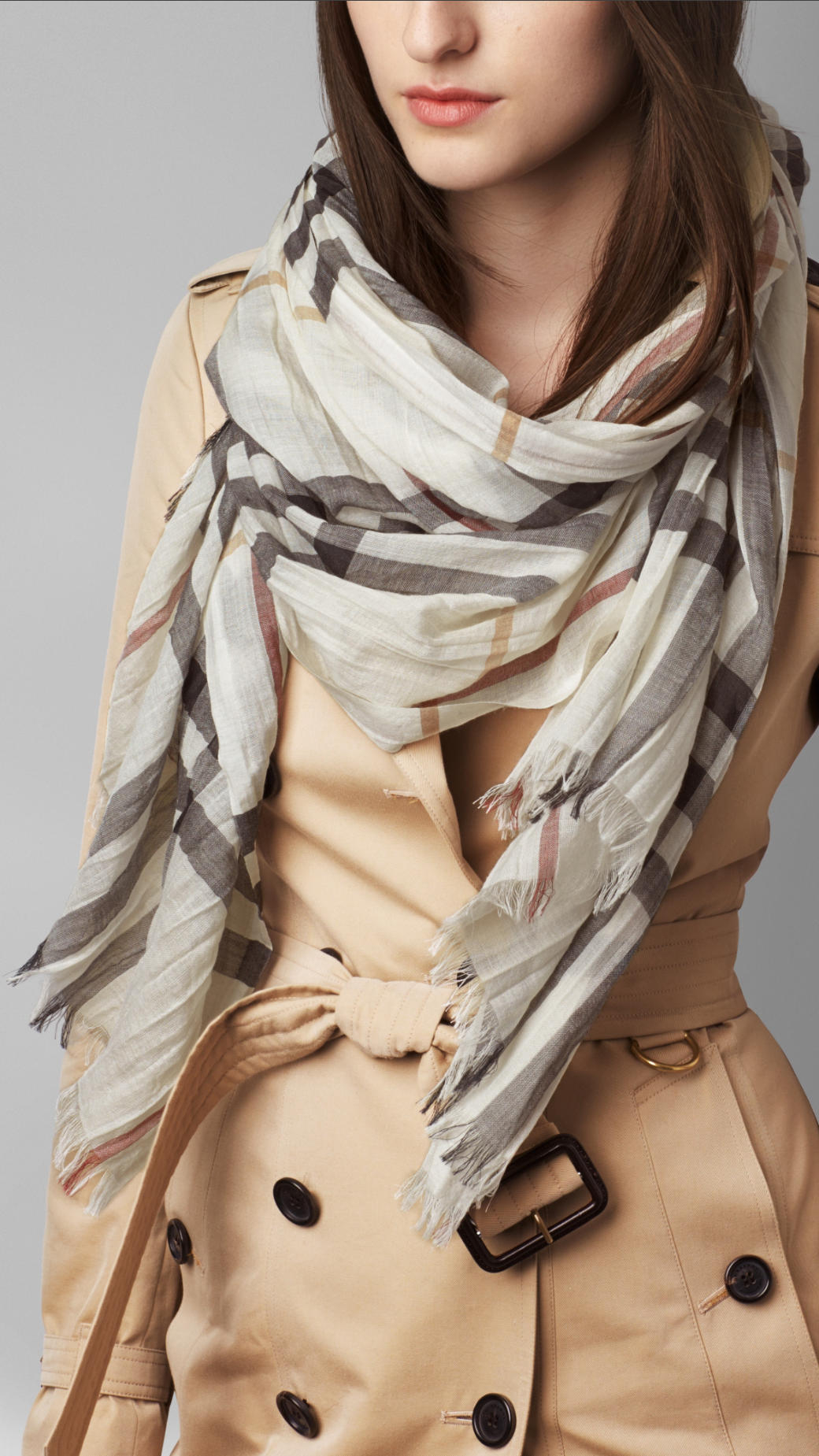 Lyst - Burberry Lightweight Check Wool And Silk Scarf in White 840ed474e8
