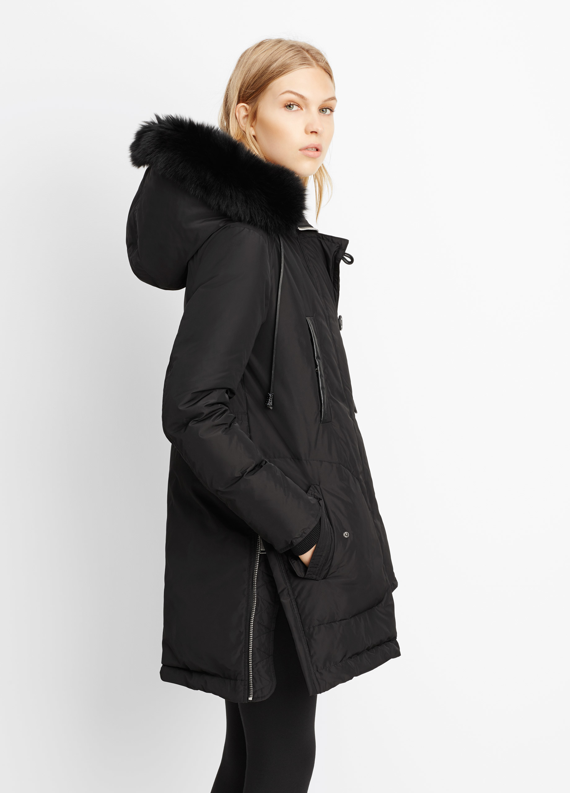 Vince Parka With Removable Fur Trimmed Hood in Black | Lyst