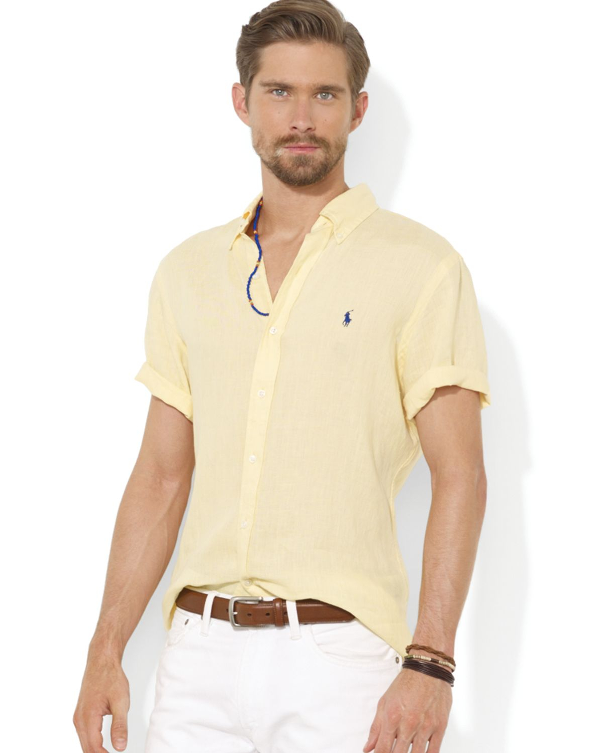 Ralph lauren polo button down short sleeve sport shirt for Men s regular fit shirts