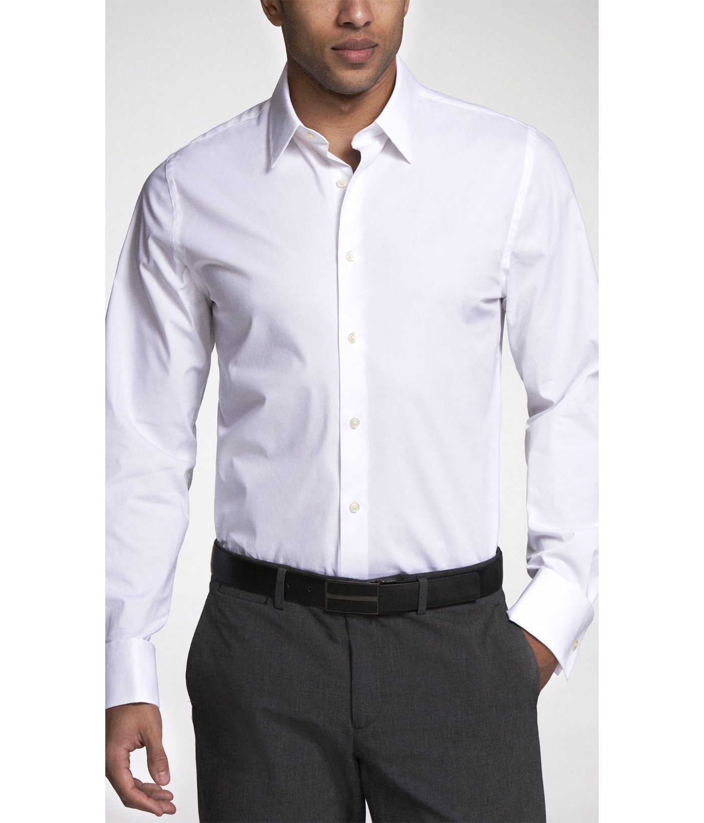 Express Fitted 1mx French Cuff Shirt In White For Men Lyst