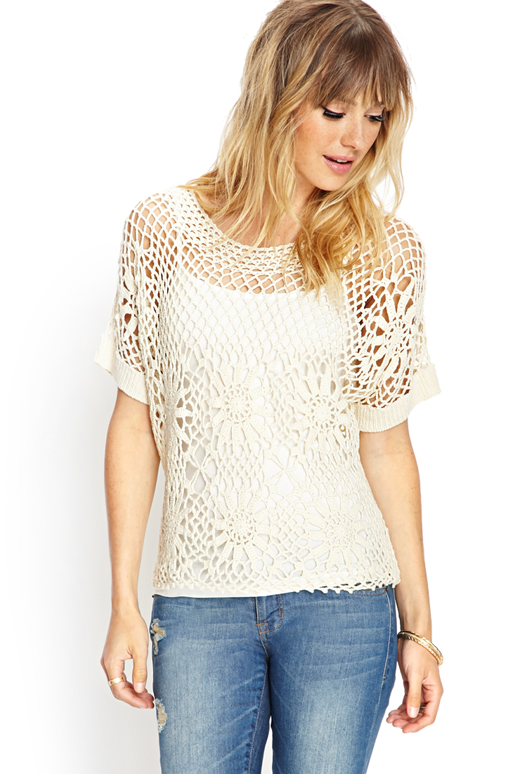 Forever 21 Crochet Lace Knit Top In White Cream Lyst
