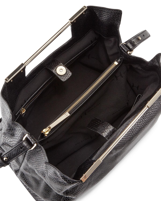 4d7a709139e3 Lyst - Halston Lauren Large Embossed-leather Satchel Bag in Black