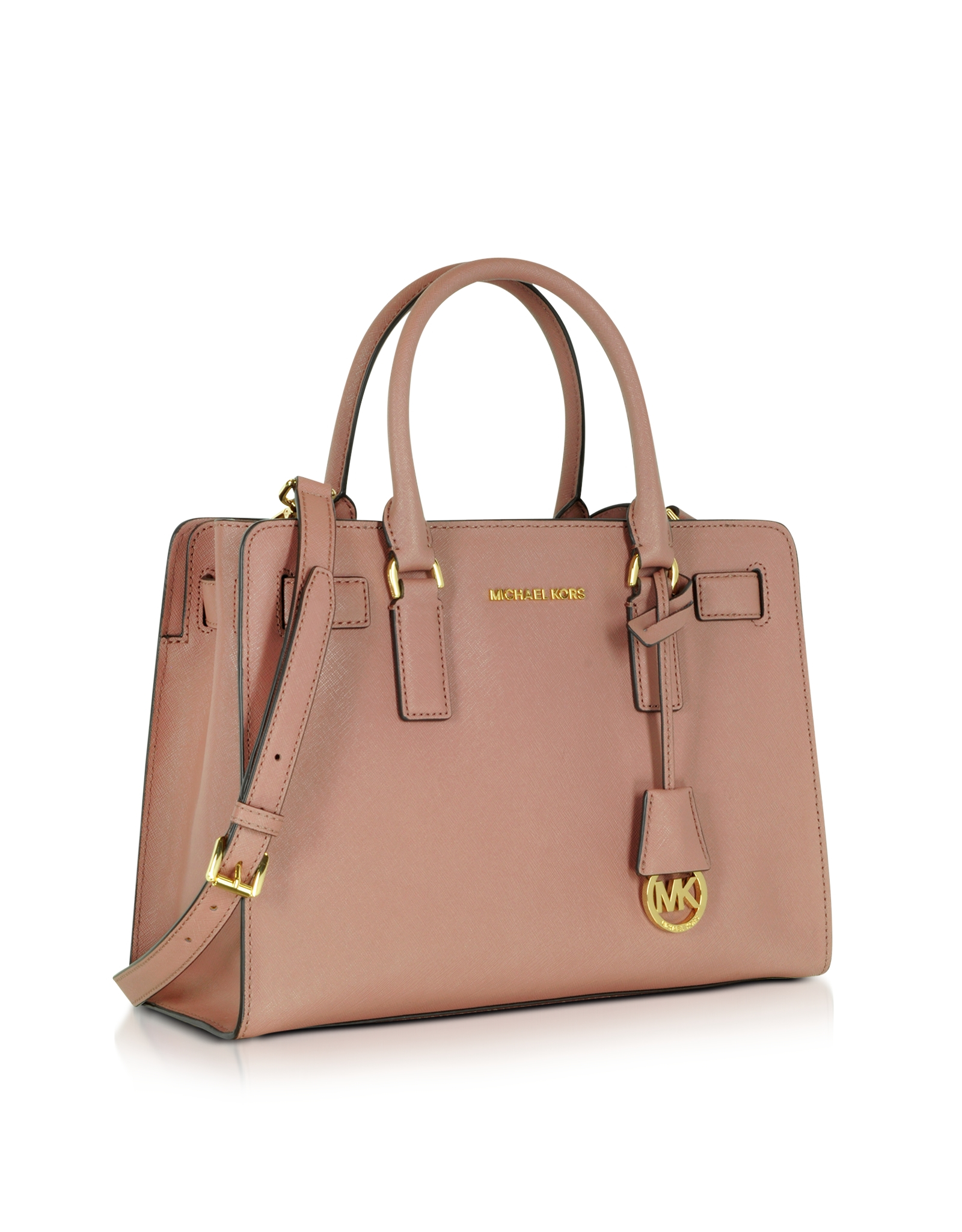 michael kors dillon dusty rose saffiano leather e w satchel in brown lyst. Black Bedroom Furniture Sets. Home Design Ideas