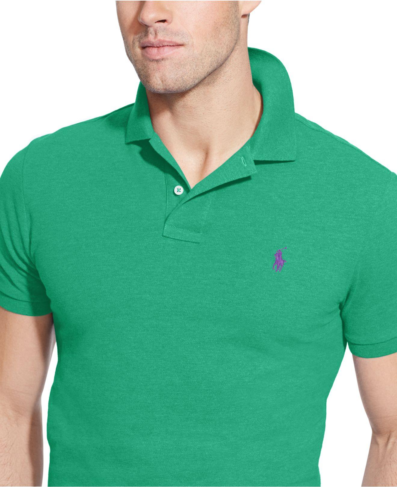 6b3cb9b7b Polo Ralph Lauren Custom-fit Mesh Polo Shirt in Green for Men - Lyst