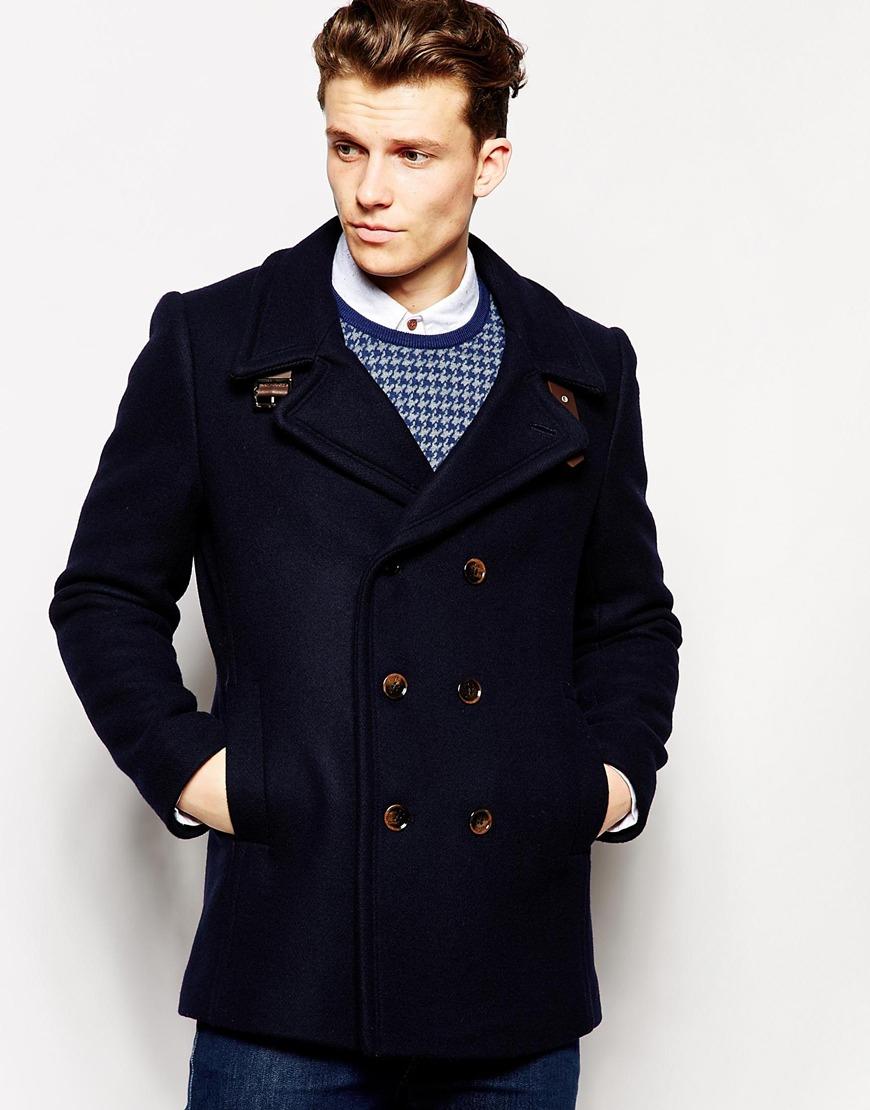 6b74efd3251c98 Lyst - Ted Baker Wool Pea Coat in Blue for Men