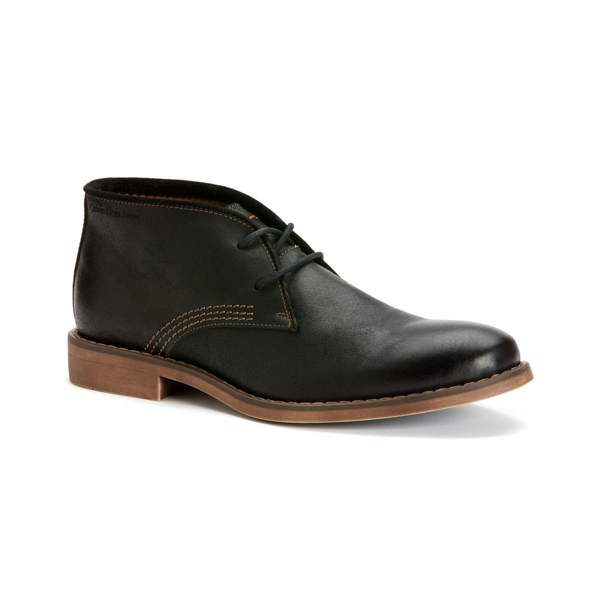 Calvin Klein Jeans Orrick Leather Chukka Boots in Black ...