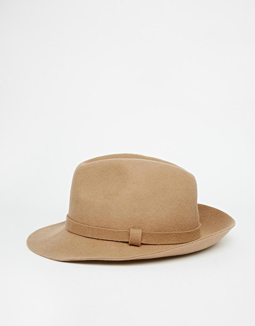Lyst - ASOS Fedora Hat In Camel Felt in Brown for Men 79e61b6f15f