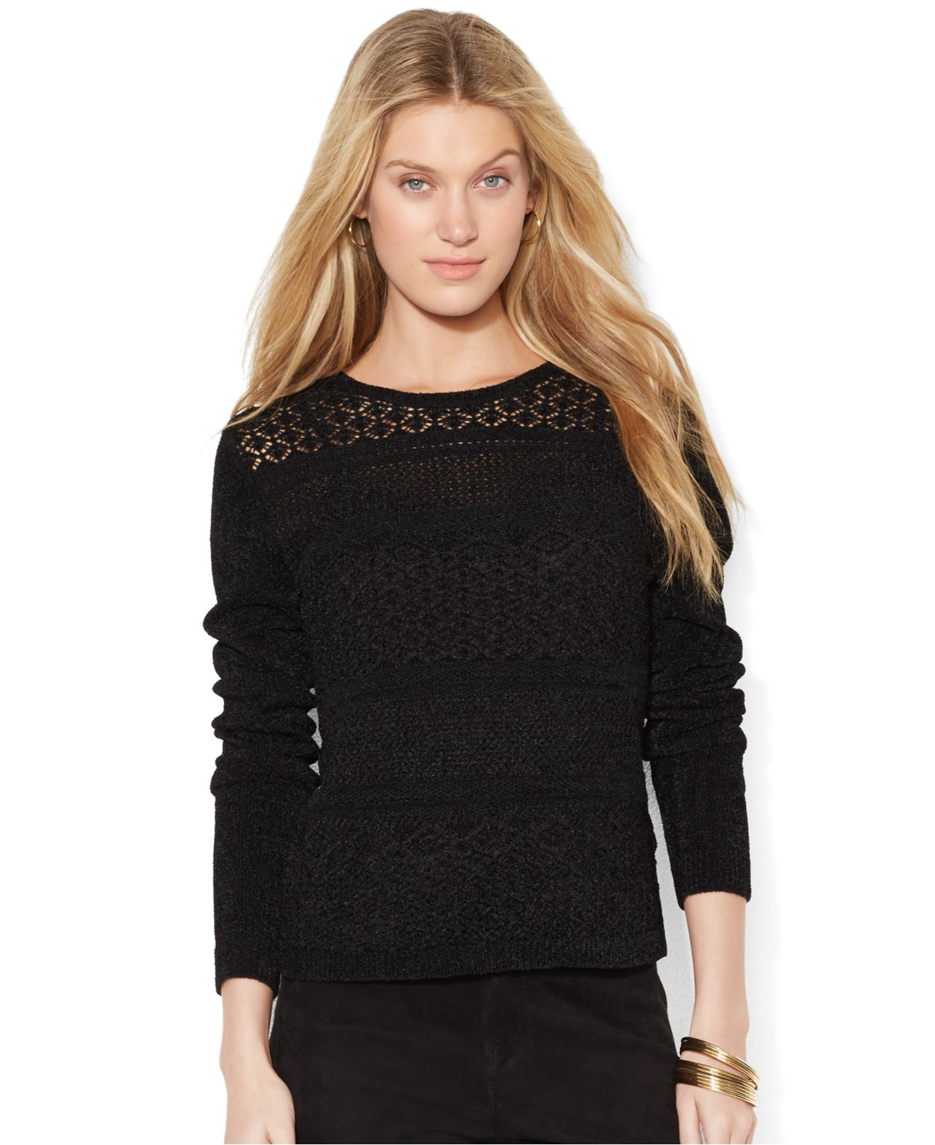 Lauren by ralph lauren Long-Sleeve Aran-Knit Sweater in ...